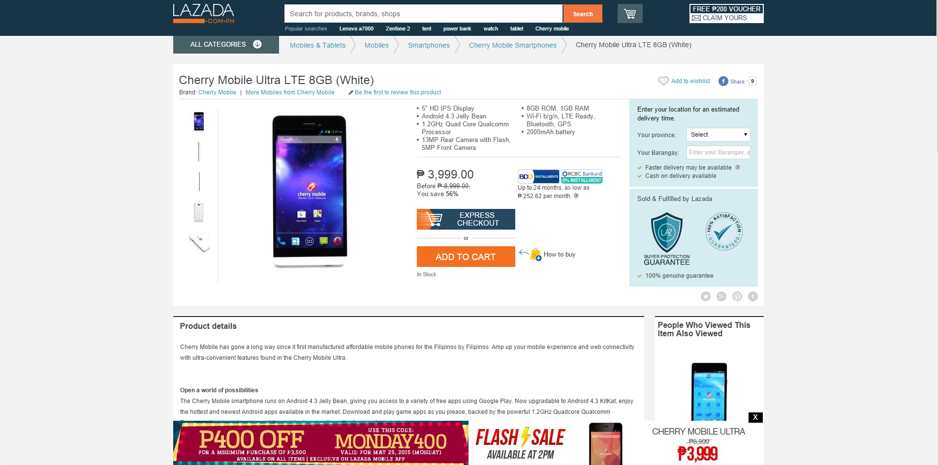 Cherry Mobile Ultra Now On Flash Sale At Lazada • Jam