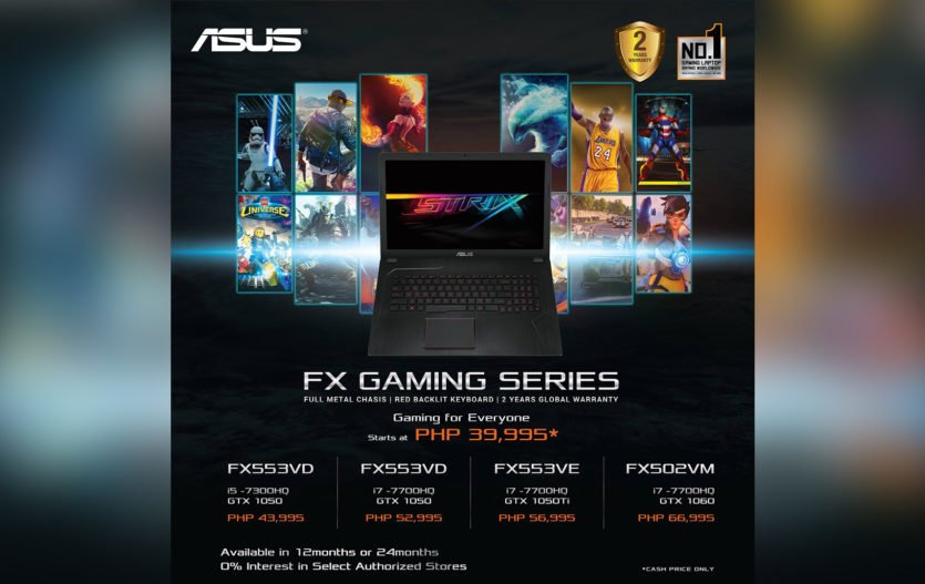 ASUS FX Series Gaming Notebooks now starts P39,995